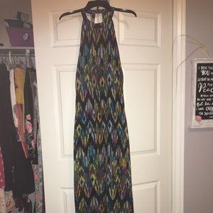Black & multi colored maxi dress